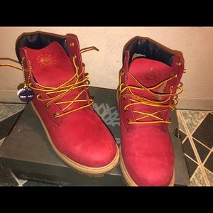 """Kids 6"""" red Timberland boots"""